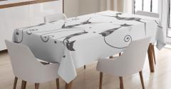 Çizgili Kedi Temalı Masa Örtüsü Gri Beyaz Trend