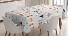 Kedi Desenli Masa Örtüsü Turuncu Siyah Gri Beyaz Şık