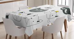 Siyah Beyaz Kedi Desenli Masa Örtüsü Şık Tasarım
