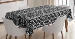 Etnik Motifli Masa Örtüsü Siyah Beyaz Şık Tasarım