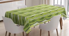 Yeşil Şeritli Masa Örtüsü Şık Tasarım Dekoratif