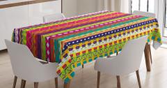 Rengarenk Şeritli Masa Örtüsü Şık Tasarım Dekoratif