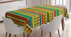 Çizgili Desenli Masa Örtüsü Geometrik Şık Tasarım