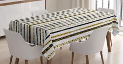 Çizgili Desenli Masa Örtüsü Siyah Beyaz Altın Şık