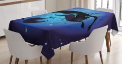 Mavi Ay ve Deniz Kızı Temalı Masa Örtüsü Şık Tasarım