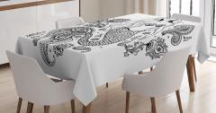 Güzel Deniz Kızı Temalı Masa Örtüsü Siyah Beyaz Şık