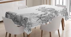 Siyah Beyaz Deniz Kızı Desenli Masa Örtüsü Balıklı