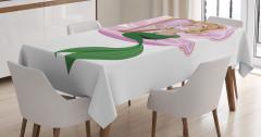Arp Çalan Deniz Kızı Desenli Masa Örtüsü Mor Yeşil