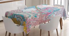 Deniz Kızı ve Kabuk Desenli Masa Örtüsü Pembe Mavi