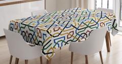 Mavi Sarı Yeşil Desenli Masa Örtüsü Şık Geometrik