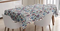 Bordo Mavi Çiçek Desenli Masa Örtüsü Şık Çeyizlik