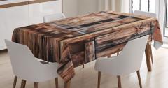 Nostaljik Ahşap Ev Temalı Masa Örtüsü Şık Kahverengi