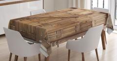 Oymalı Kahverengi Kapı Temalı Masa Örtüsü Dekoratif