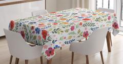 Pembe Turuncu Mavi Çiçek Desenli Masa Örtüsü Şık