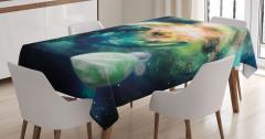 Gezegen Yıldız ve Uzay Desenli Masa Örtüsü Lacivert