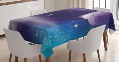 Uzay Gezegen ve Yıldız Temalı Masa Örtüsü Mor Mavi