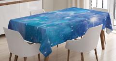 Uzay ve Yıldız Desenli Masa Örtüsü Mavi Lacivert