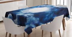Bulut Girdabı ve Ay Desenli Masa Örtüsü Mavi Beyaz