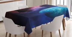 Ağaç ve Dünya Desenli Masa Örtüsü Mavi Lacivert Mor