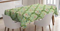 Mavi Kırmızı Çiçek Desenli Masa Örtüsü Şık Yeşil