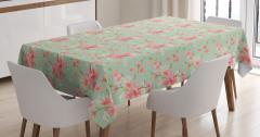 Pembe ve Yeşil Çiçek Desenli Masa Örtüsü Şık Mavi