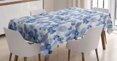 Mavi Lacivert Çiçek Desenli Masa Örtüsü Çeyizlik