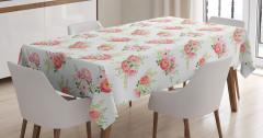 Çeyizlik Çiçek Desenli Masa Örtüsü Şık Pembe Sarı