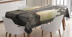 Mermer Şato Pencereleri Desenli Masa Örtüsü Antik