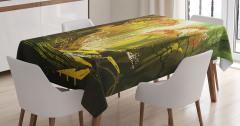 Rengarenk Orman Desenli Masa Örtüsü Şık