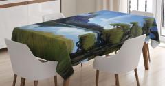 Şato ve Göl Desenli Masa Örtüsü Yağlı Boya Efektli