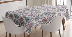 Çiçekli Fil Desenli Masa Örtüsü Şık Sevimli