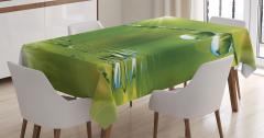 Su Damlası ve Güneş Temalı Masa Örtüsü Yeşil Şık