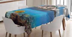 Deniz ve Su Altı Temalı Masa Örtüsü Mavi Balık Bulut