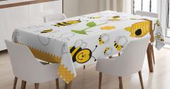 Arı ve Bal Desenli Masa Örtüsü Sarı ve Siyah