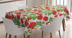 Çilekler ve Çiçekler Masa Örtüsü Kırmızı Yeşil
