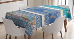 Mozaik Balık Desenli Masa Örtüsü Dekoratif