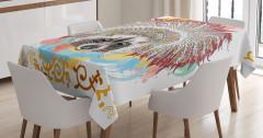 Kızılderili Rakun Desenli Masa Örtüsü Rengarenk