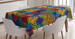 Çizgili Dairesel Desenli Masa Örtüsü Rengarenk