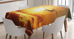 Yolcu Uçağı Güneş Yolunda Masa Örtüsü Bulutlu