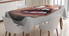 Beyaz Dişli Amorf Canavar Masa Örtüsü 3D Efektli