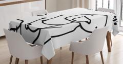 Davul Çalan Adam Desenli Masa Örtüsü Karikatür