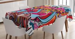 Rengarenk Grafiti Desenli Masa Örtüsü Sokak Sanatı