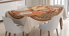 Çiçekli Kız Desenli Masa Örtüsü Art Nouveau Etkili