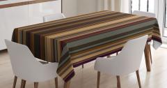 Kahverengi Çizgili Desen Masa Örtüsü Retro Stil