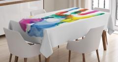 Rengarenk El İzi Desenli Masa Örtüsü Beyaz Fonlu