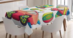 Rengarenk Oyuncak Desenli Masa Örtüsü Şık Tasarım