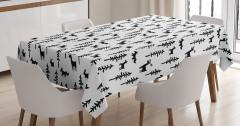 Geyik Tavşan Tilki Desenli Masa Örtüsü Siyah Beyaz