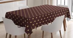 Kahverengi Minik Puantiyeli Masa Örtüsü Şık Tasarım