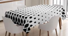 Siyah Beyaz Yaprak Desenli Masa Örtüsü Şık Tasarım