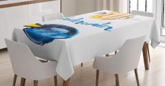 Mavi Sarı Balık Desenli Masa Örtüsü Sulu Boya Etkili